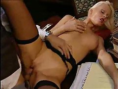 Blonde fucked in the ass while wearing stockings tubes