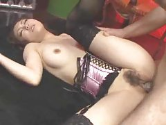 Japanese hottie in pink and black lingerie fucked tubes