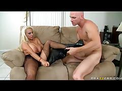 Blonde whore in latex boots ass fucked tubes