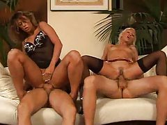 Two guys and two chicks swapping partners tubes
