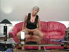 Granny in tan stockings taking cock tubes