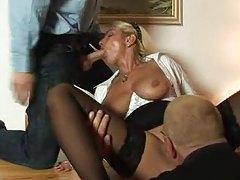 Two guys bang a naughty older slut tubes