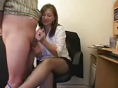 Secretary gets rough with her handjob tube