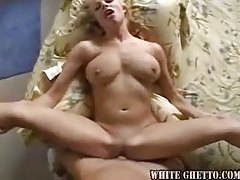Shaved pussy blonde taken by stiff meat tubes