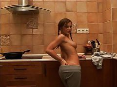 Stripping from her sweats and fingering tubes