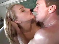 Two blonde ladies and one man in threesome tubes
