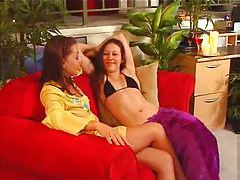 Bikini babes come home from the beach for lesbian sex tubes