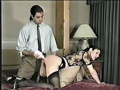 Naughty girl is spanked and her ass toyed tubes