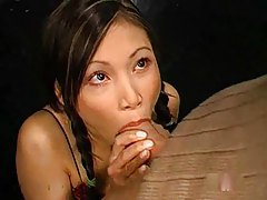 Young Asian ends up taking a bukkake tubes