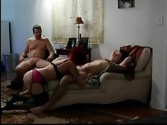 Husband watches wife suck younger man's cock tubes