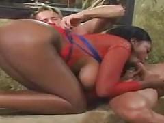 Busty black slut in light bondage fucked deep tubes