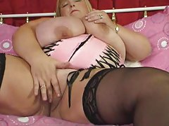 Super fat blonde BBW and her toy fucking tubes