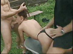 French girl on the farm for a DP tubes