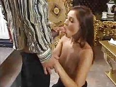 Sultry girl in a long black dress sucks dick tubes
