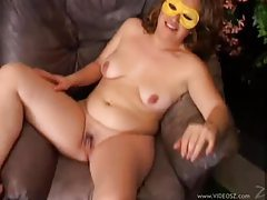 Chubby milf in a mask fucked in hole tubes