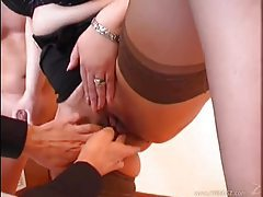 Fucking his coworker while she wears stockings tubes