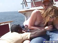 Interracial big cock sex on the boat for her tubes