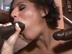 Cute white porn slut takes on two black guys tubes