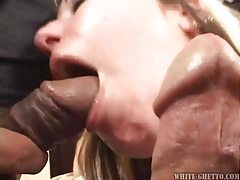 Two dicks for the sexy blonde milf to eat tubes
