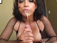 Milf makes a fucking mess sucking cock tubes
