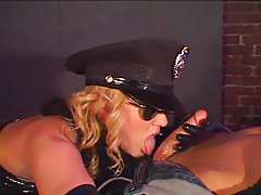 Hot latex lady cop busts a perp to fuck her tubes