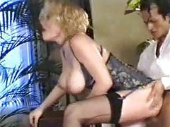 Splendid mature blonde with big tits nailed tubes