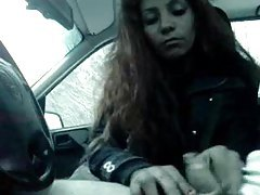 Girls blowing his little cock in the car tubes