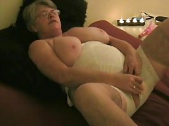 Big mature chick and her white lingerie tubes