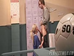 Soccer hottie sucks cock in locker room tubes