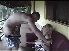 Blonde shemale with curly hair fucked outdoors tubes