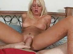 Adorable blonde works his cock until it cums tubes