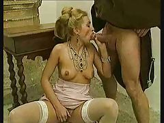 Chicks in stockings take dick in classic movie tubes