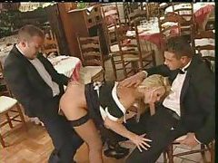 Two waiters bang a French maid in the restaurant tubes