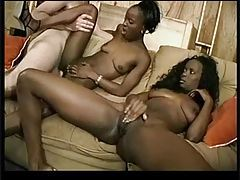 Ebony babes share pleasure from his white cock tubes