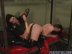 Latex submissive is punished and hurt tubes