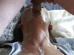 Chick gags as he fucks his whole cock down her throat tubes