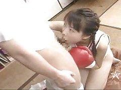 Japanese boxing babe sucking hard dick tubes
