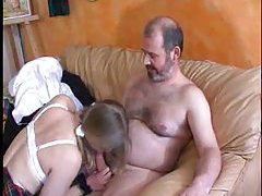Two older guys fucking the cute French girl tubes