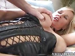 Chick in black leather wants cum on tits tubes