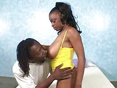 Busty ebony slut takes big black cock tubes