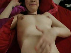 Chick loves cock and having cum on her tubes