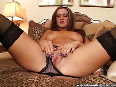 Hot stuff in stockings using a dildo tubes