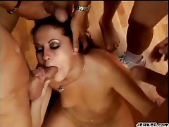Talented girl sucks a ton of cock tubes