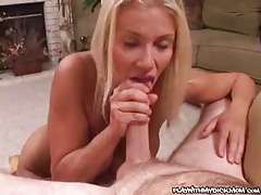 Blowjob and a big facial for busty blonde tubes