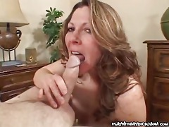 Babe sucking, stroking and fondling cock tubes