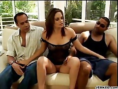 Girl taking on two big black dudes with anal tubes