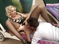 Blonde chick in stockings loves his cock tubes
