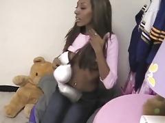 Pussy eating the black girl before BJ tubes