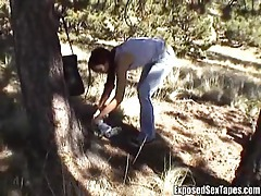 Slutty girl stroking his cock outdoors tubes