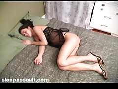 Fucking the sleeping girl and cumming on her tubes